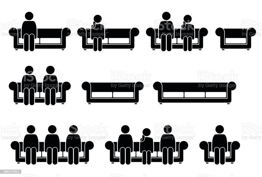 People Sitting on Chair Sofa. vector art illustration