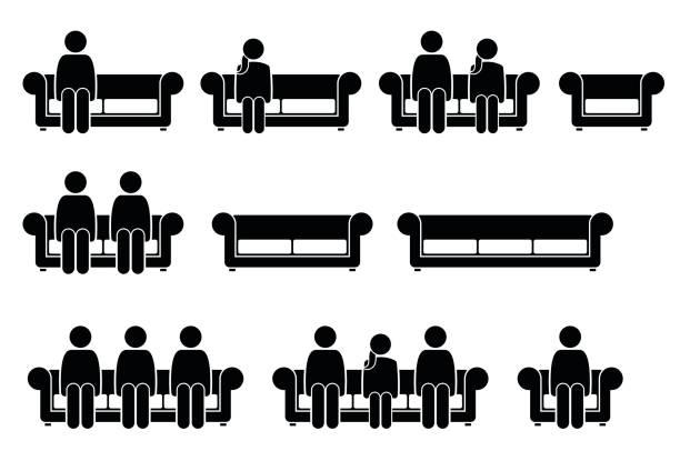 illustrations, cliparts, dessins animés et icônes de gens assis sur la chaise sofa. - époux