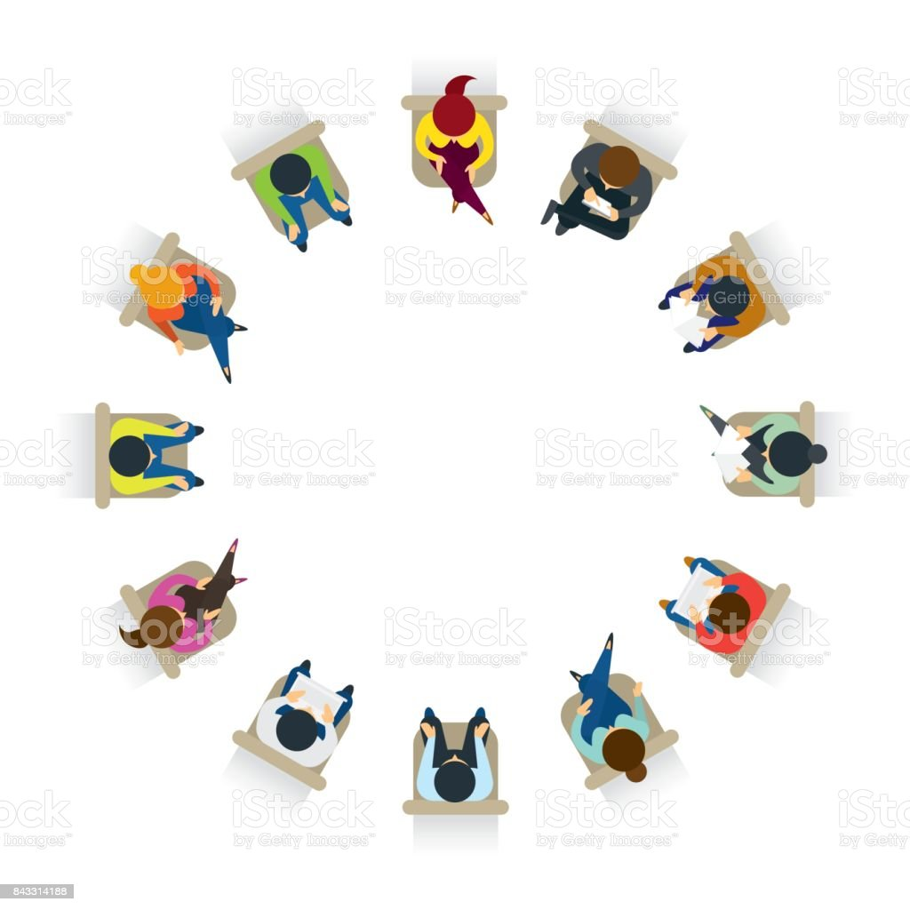 People Sitting on Chairs in Circle Form vector art illustration