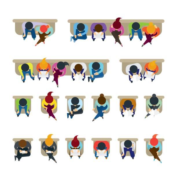 ilustraciones, imágenes clip art, dibujos animados e iconos de stock de personas sentadas en sillas - overhead