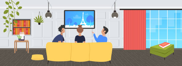 illustrazioni stock, clip art, cartoni animati e icone di tendenza di people sitting on sofa rear view friends watching famous landmarks tv travel show concept paris city silhouette on television modern living room interior flat portrait horizontal - guy sofa