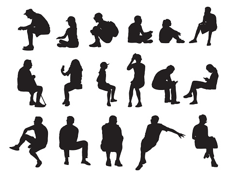 Vector silhouettes of people sitting in various positions.