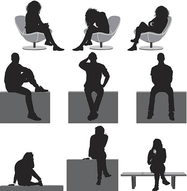 ilustrações, clipart, desenhos animados e ícones de pessoas de estar - banco assento