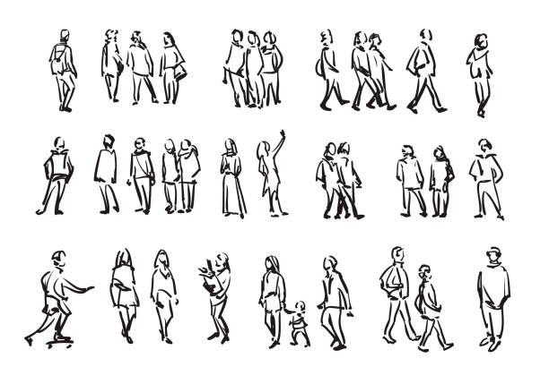 People sketch. Casual group of people silhouettes. Outline hand drawing illustration People sketch. Casual group of people silhouettes. Outline hand drawing illustration sketch stock illustrations