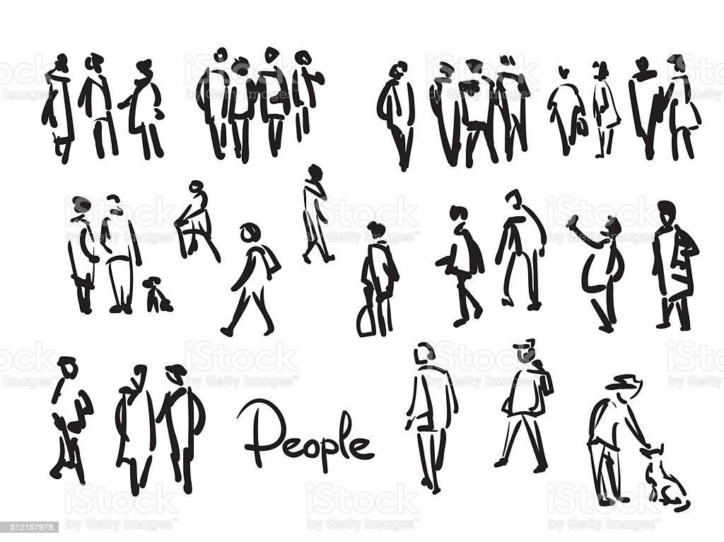 Line Drawing Person : Pessoas desenho mão ilustração de contorno arte