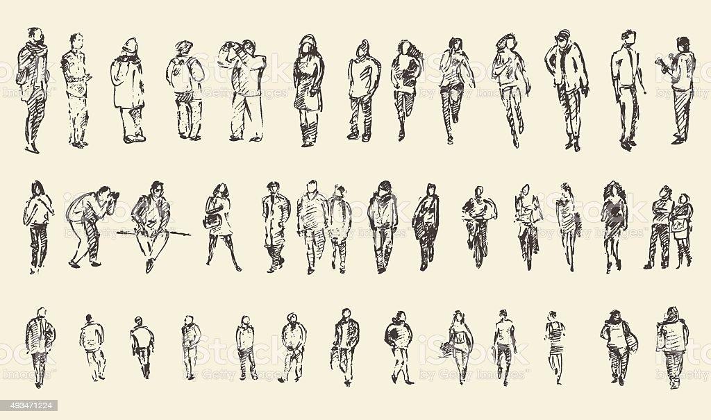 People Sketch, Vector Illustration, Hand Drawing vector art illustration
