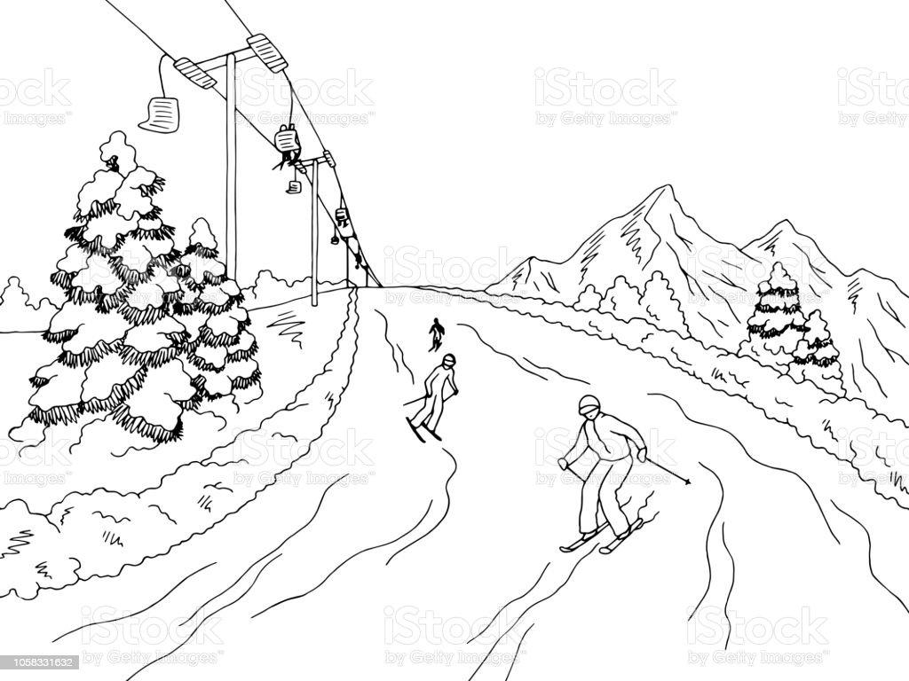 skifahren in die berge grafik schwarz weiße landschaft