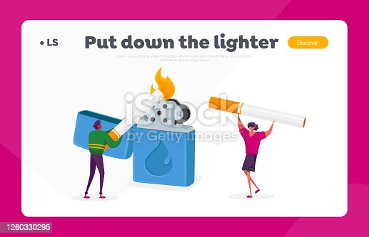 People Smoking Landing Page Template. Tiny Characters Light Cigarette from Huge Burning Lighter, Smoking Addiction. Causing Harm to Health Problem, Cancer and Lung Disease. Cartoon Vector Illustration