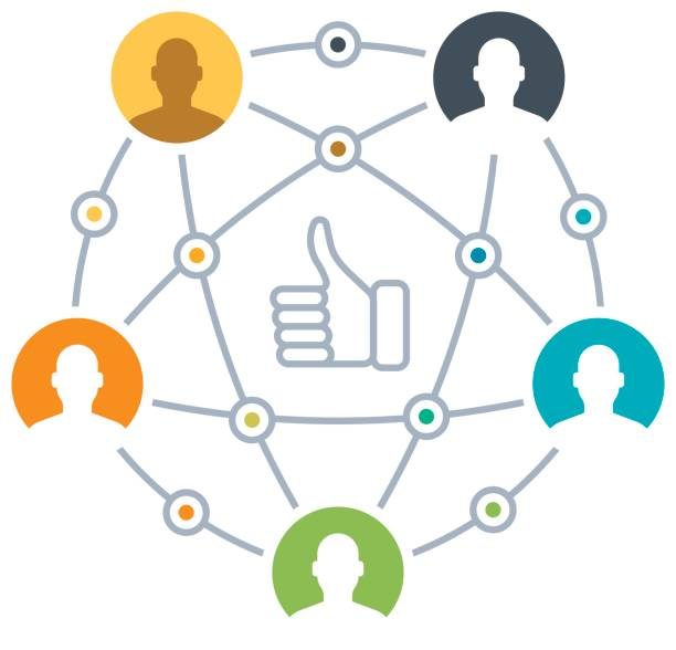 People Social Network People connections and social networking concept. five people stock illustrations