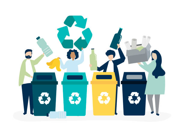 People sorting garbage for recycling vector art illustration
