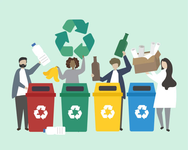 People sorting garbage into recycle bins illustration vector art illustration