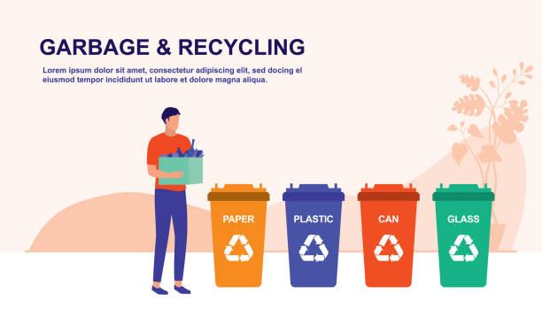 ilustrações de stock, clip art, desenhos animados e ícones de people sorting garbage waste. trash recycling, eco friendly and environmental protection concept. vector flat cartoon illustration. - box separate life