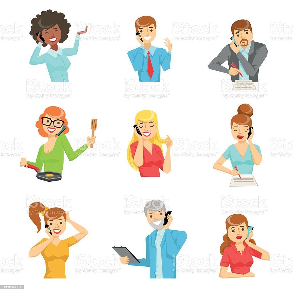 People Speaking On The Phone Set Of Illustrations – Vektorgrafik