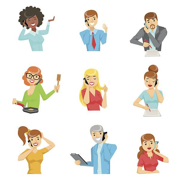 people speaking on the phone set of illustrations - frau handy stock-grafiken, -clipart, -cartoons und -symbole