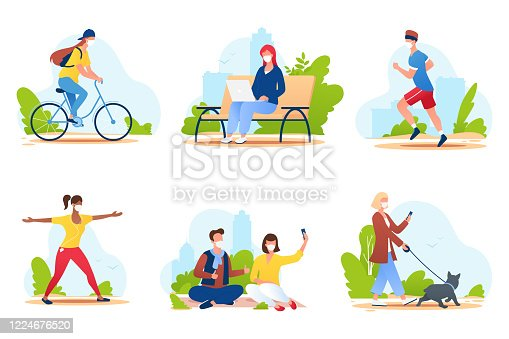 istock People spend time in a city park. People in medical protective masks walk in nature, ride a bike, play sports, relax, etc. Summer outdoor activities. Social distance. Vector illustration. 1224676520