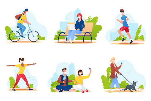 People spend time in a city park. People in medical protective masks walk in nature, ride a bike, play sports, relax, etc. Summer outdoor activities. Social distance. Vector illustration.