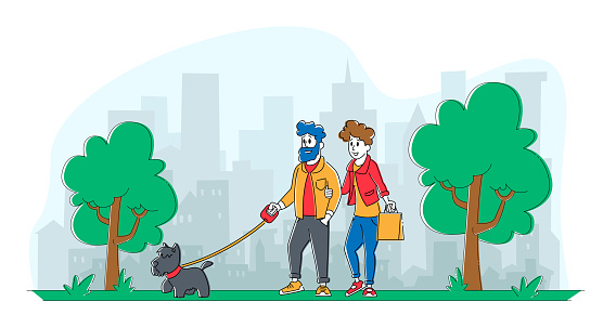 People Spending Time with Pet Outdoors. Male and Female Couple Characters Walking with Dog in Public City Park or Home Yard. Leisure, Communication with Animals. Linear People Vector Illustration