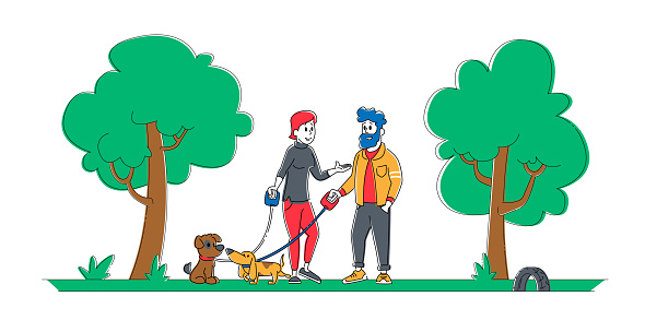 People Spending Time with Pets Outdoors. Male and Female Characters Walking with Dogs in Public City Park or Home Yard. Leisure, Communication with Animals Cartoon Flat Vector Illustration, Line Art