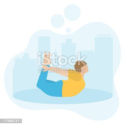 Vector illustration with person does yoga exercise, yoga pose on background of the cityscape. Yoga for everyone. Healthy lifestyle. Balance training. Design for app, websites, print, presentation