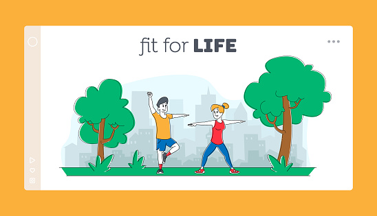 People Sports Exercises in Park Landing Page Template. Characters Outdoor Yoga Activity Concept. Fitness, Workout in Different Poses, Stretching Healthy Lifestyle. Linear People Vector Illustration