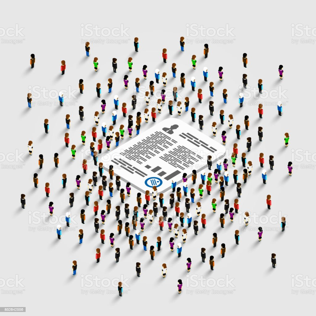 People stand around the document. vector art illustration