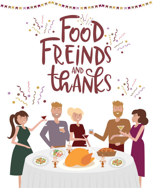 illustrazioni stock, clip art, cartoni animati e icone di tendenza di people stand at table laughing, eating food, drinking wine and talking to each other. family thanksgiving holiday dinner. - christmas table