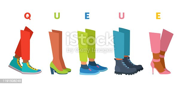 istock People stand in line. Queue, waiting. Shoes on feet. 1191508245