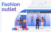 People standing and holding bags near shop window. Fashion outlet, boutique concept. Poster or landing template. Vector illustration for topics like business, shopping, sale