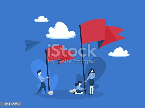 People standing and holding big red flag. Metaphor of achievement and leadership. Flat vector illustration