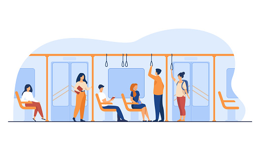 People standing and sitting in bus or metro train
