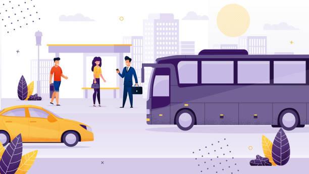 Menschen, die an der Bushaltestelle Warten auf den Transport stehen. – Vektorgrafik