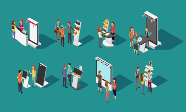 menschen stehen bei expo promotion steht vektor 3d isometrische set - ausstellungstische stock-grafiken, -clipart, -cartoons und -symbole