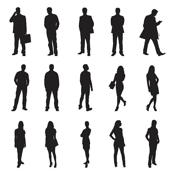 people standing black silhouette vector illustrations - standing stock illustrations