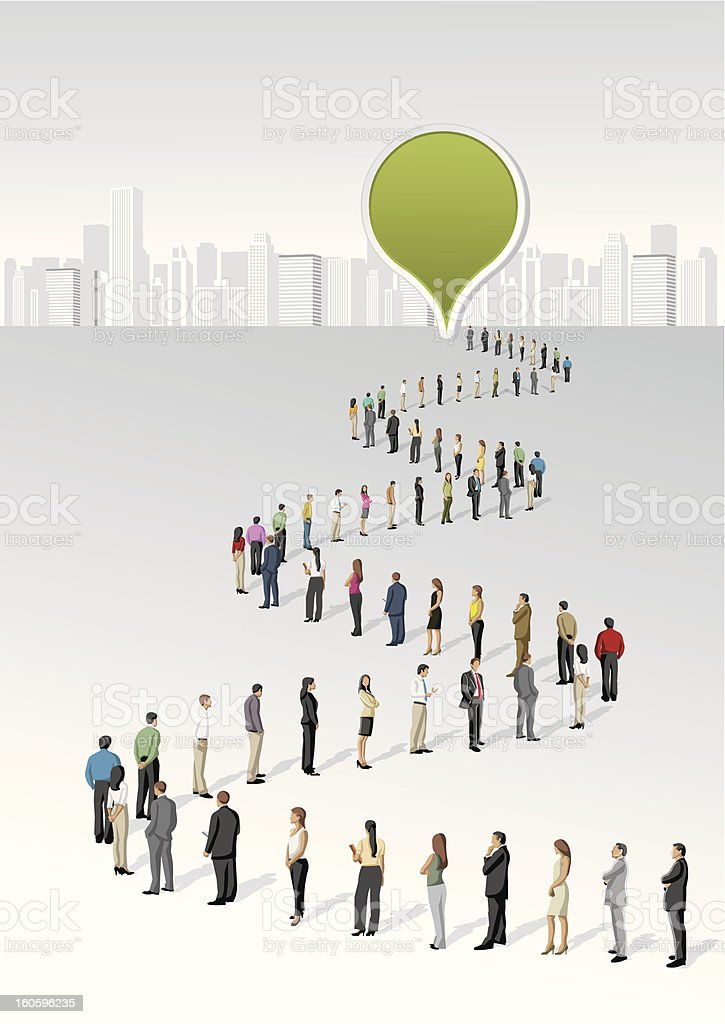 people standing in a line vector art illustration