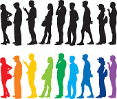 Vector of black and colorful silhouettes of people standing in line.