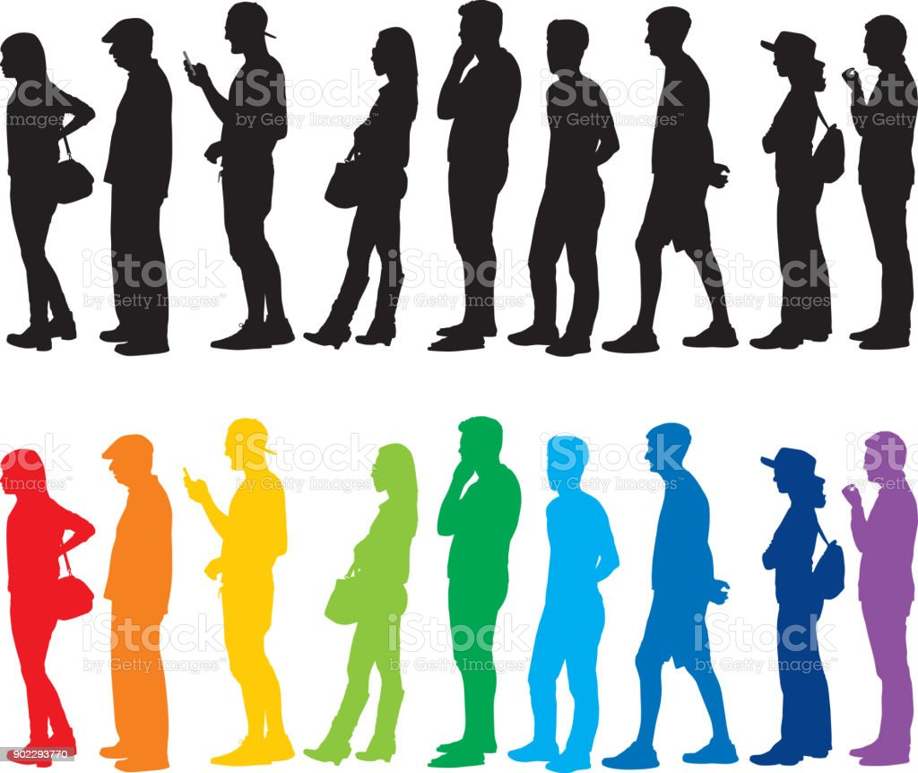 People Standing In Line Silhouettes vector art illustration