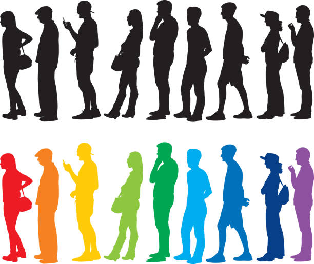 People Standing In Line Silhouettes Vector of black and colorful silhouettes of people standing in line. people in a row stock illustrations