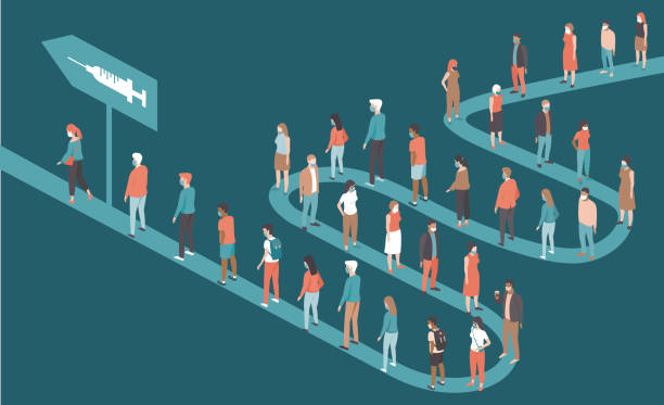 People standing in long queues to receive the vaccine against coronavirus covid-19. Mass vaccination campaign. vector art illustration