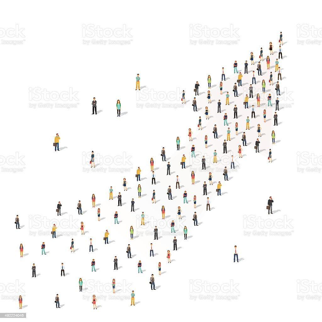 People standing together in shape of an arrow vector art illustration