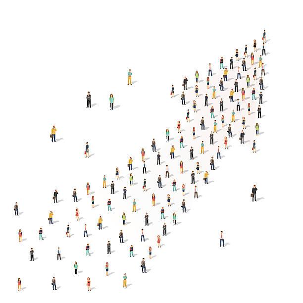 человек, стоя вместе в форме стрелы - маленький stock illustrations