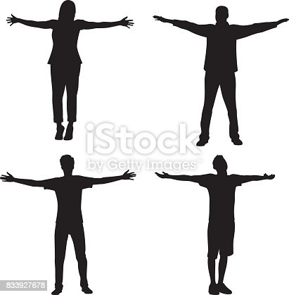 Vector silhouette of a group of people with their arms stretched out.