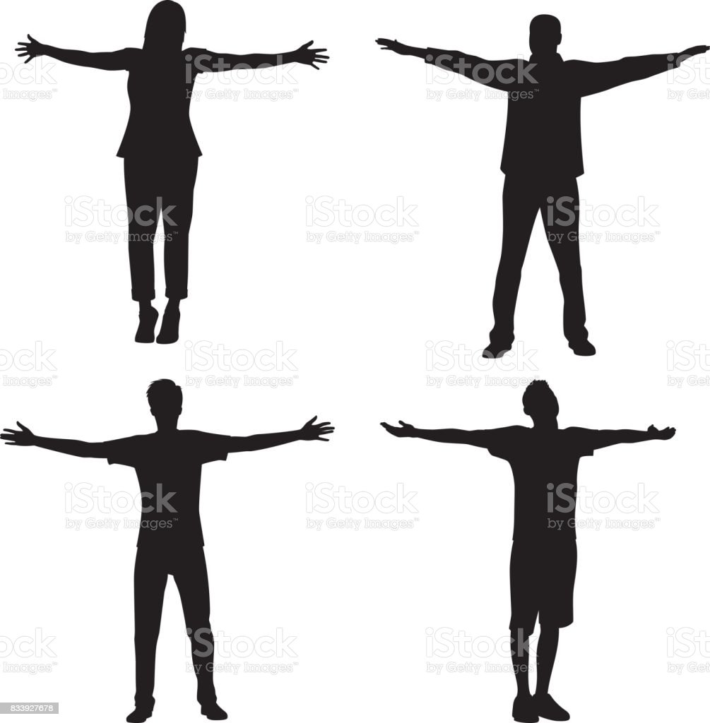 People Standing with Arms Out Silhouette vector art illustration