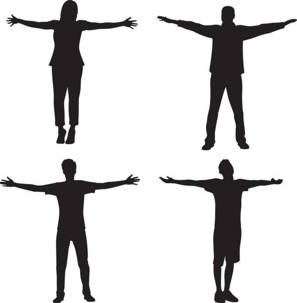 bildbanksillustrationer, clip art samt tecknat material och ikoner med människor som står med armarna ut silhouette - människoarm