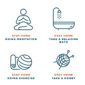 istock People Stay at Home. Doing Meditation, Doing Exercise, Take a Hobby and Take a Relaxing Bath During Quarantine. Covid 19 Quarantine Concept 1227541256