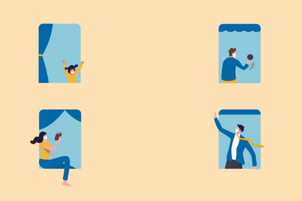 stockillustraties, clipart, cartoons en iconen met mensen blijven thuis als sociale distantiëring te beschermen tegen covid-19 coronavirus uitbraak minimaal concept, mensen aan de ramen met activiteiten blijven thuis appartement, sociale distantiëring beleid met kopieerruimte - solitair