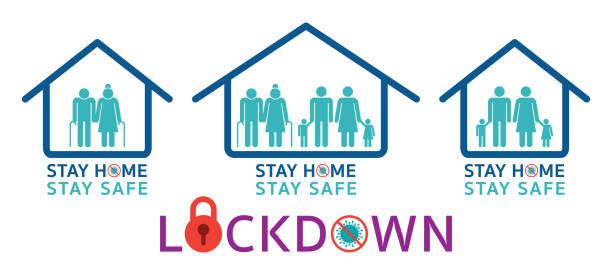 illustrazioni stock, clip art, cartoni animati e icone di tendenza di people stay home stay safe and lockdown pictogram symbols - lockdown