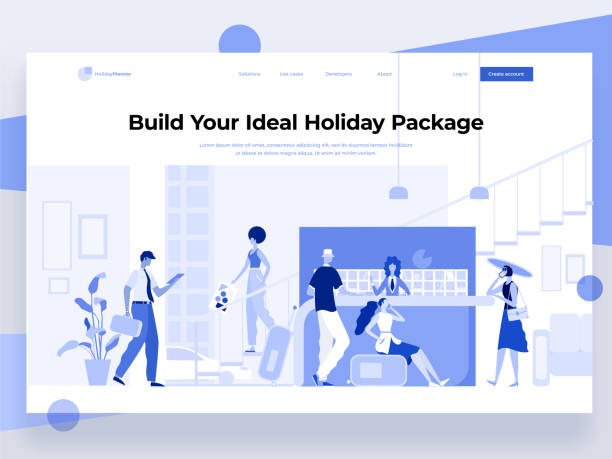 illustrazioni stock, clip art, cartoni animati e icone di tendenza di people stay near the registration desk and book a hotel while interacting with devices. holiday and vacation. flat vector illustration. landing page template. - hotel checkin