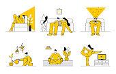 People enjoying home leisure activities. Editable vectors on layers.