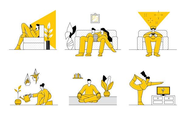 留在家裡的人 - 插圖 幅插畫檔、美工圖案、卡通及圖標