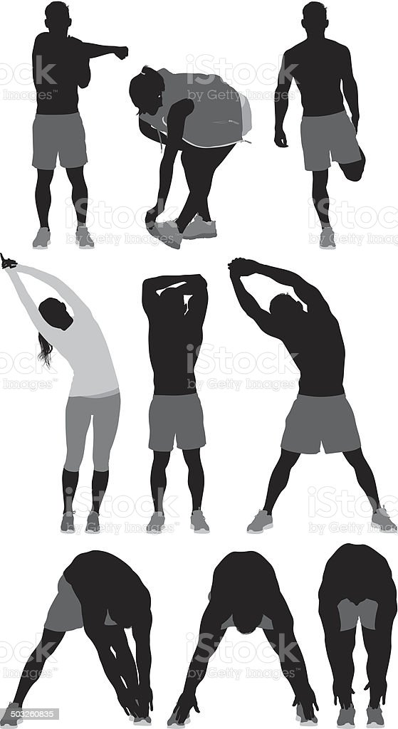 People stretching sports activity vector art illustration